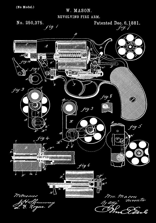Colt Revolver Digital Art - Six Shooter Patent by Dan Sproul