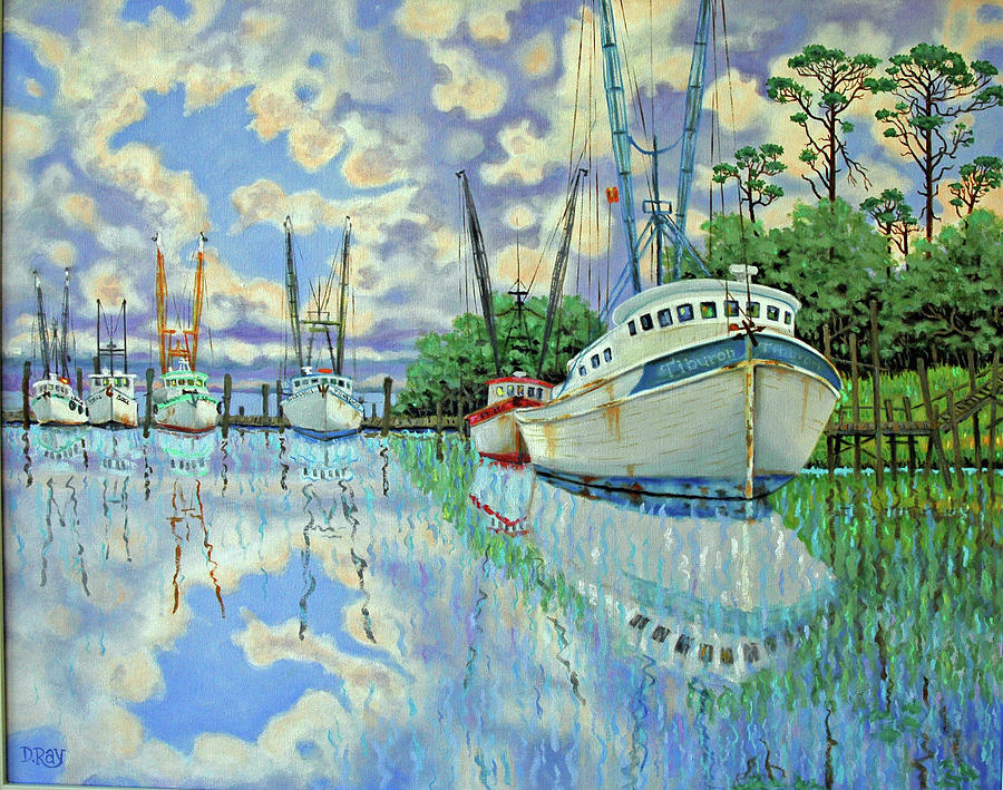 Reflections Painting - Six Shrimp Boats In Off Season by Dwain Ray