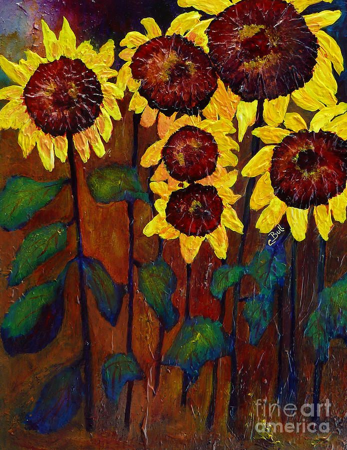 Sunflower Painting - Six Sunflowers by Claire Bull