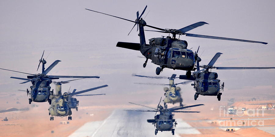 Helicopters Photograph - Six Uh-60l Black Hawks And Two Ch-47f Chinooks by Paul Fearn