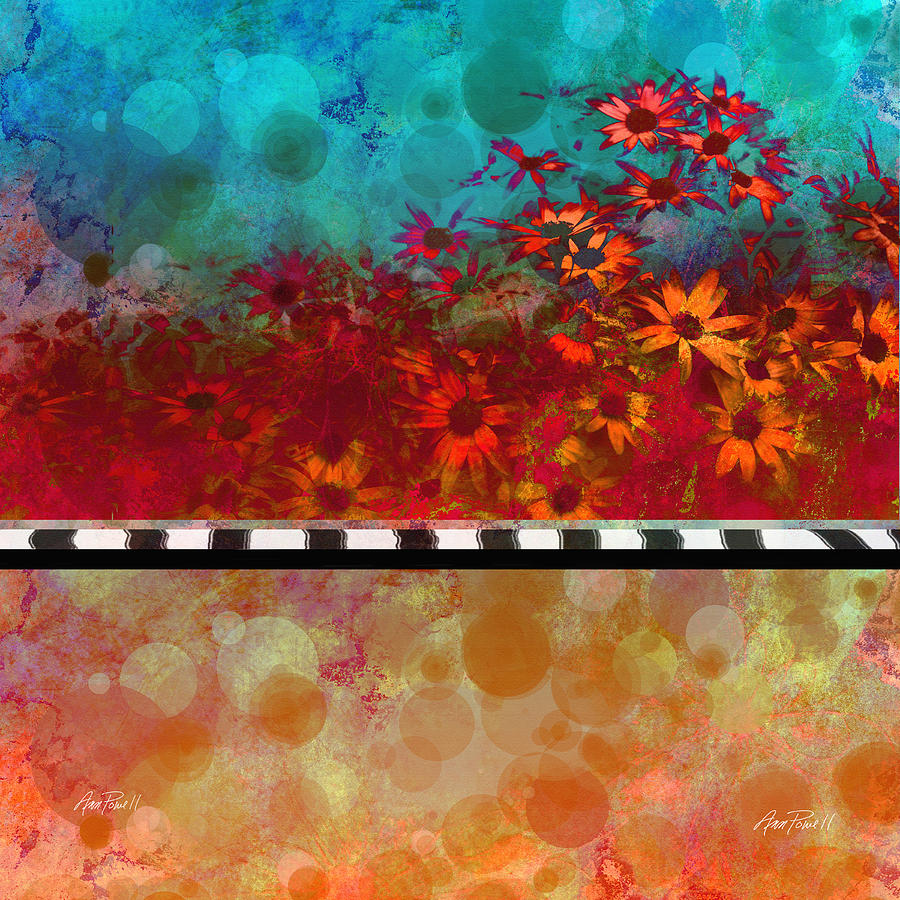 Red Orange Digital Art - Sizzle Abstract Floral Art by Ann Powell