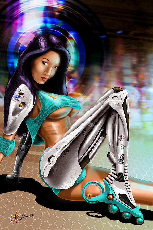 Cars Digital Art - Skate Girl by Doug Schramm