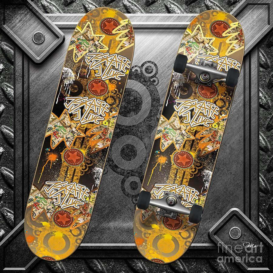 Skateboard Digital Art - Skateboard by Mo T
