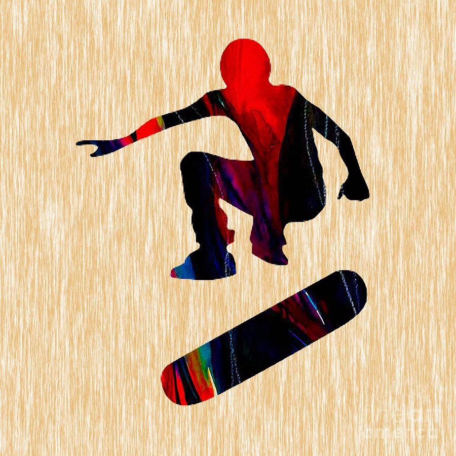 Skateboarder Painting Mixed Media by Marvin Blaine