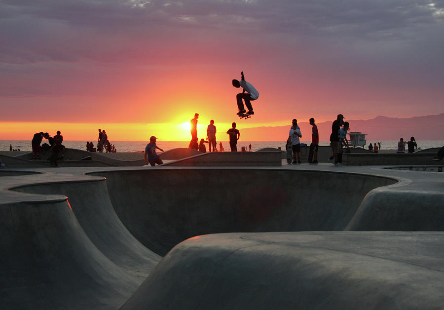 Skateboarding At Venice Beach Photograph by Mgs