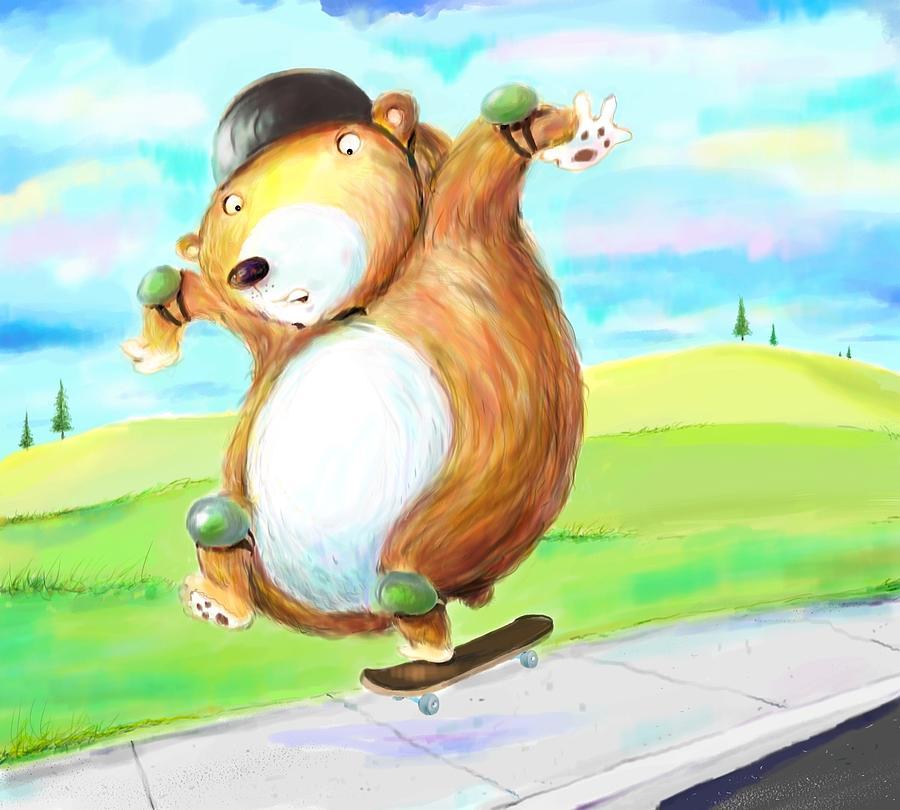 Skateboard Digital Art - Skateboarding Bear by Scott Nelson