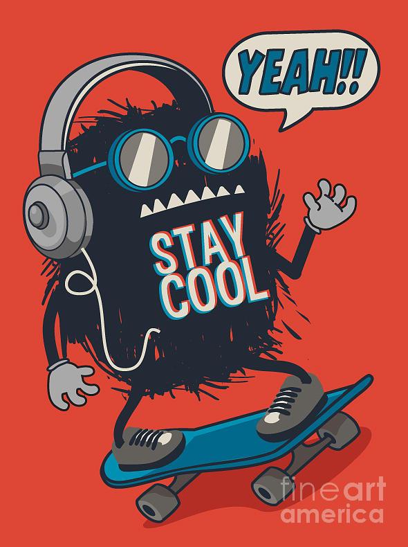 Symbol Digital Art - Skater Monster by Braingraph