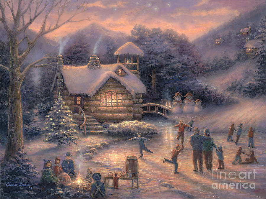 Snow Cabin Painting - Skating By Twilight by Chuck Pinson