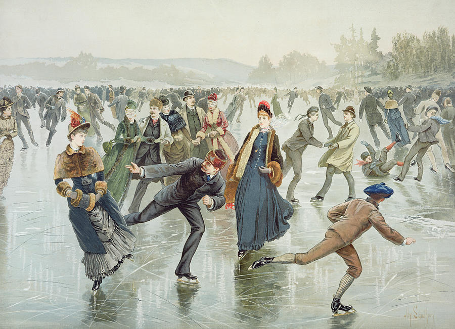 Frozen Pond Painting - Skating by Harry Sandham