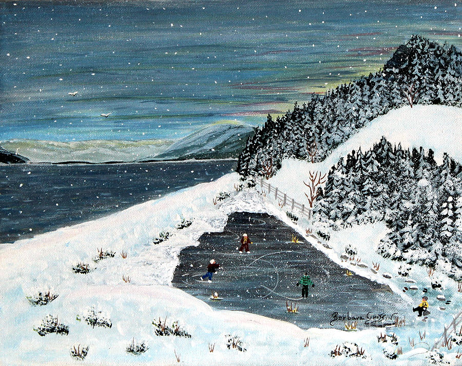 Frozen Pond Painting - Skating On Pond Garden by Barbara Griffin