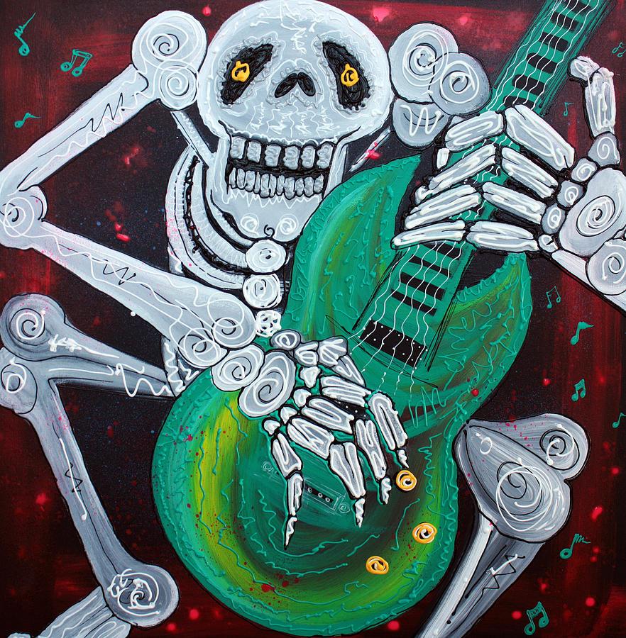Skeleton Painting - Skeleton Guitarist by Laura Barbosa