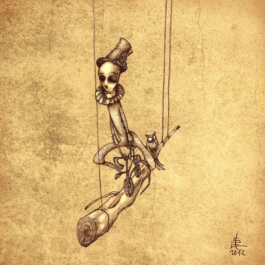 Strange People Painting - Skeleton On Cycle by Autogiro Illustration