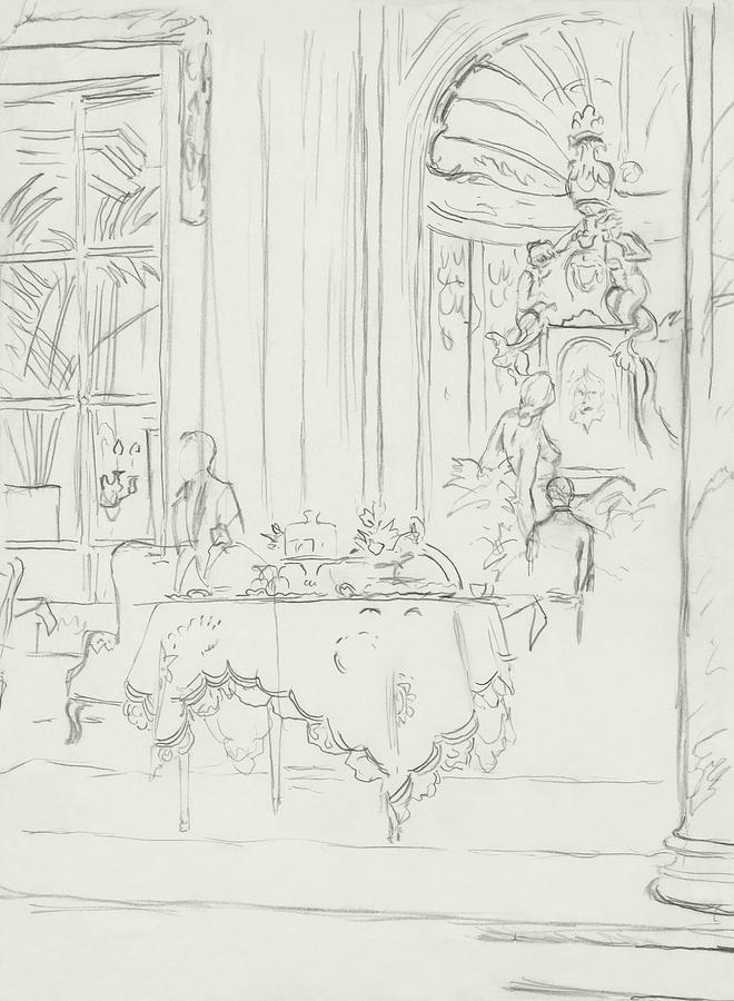 Sketch Of A Formal Dining Room Digital Art by Carl Oscar August Erickson