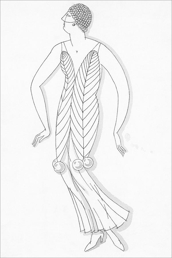 Sketch Of A Woman Wearing White Mistletoe Costume Digital Art by Robert E. Locher