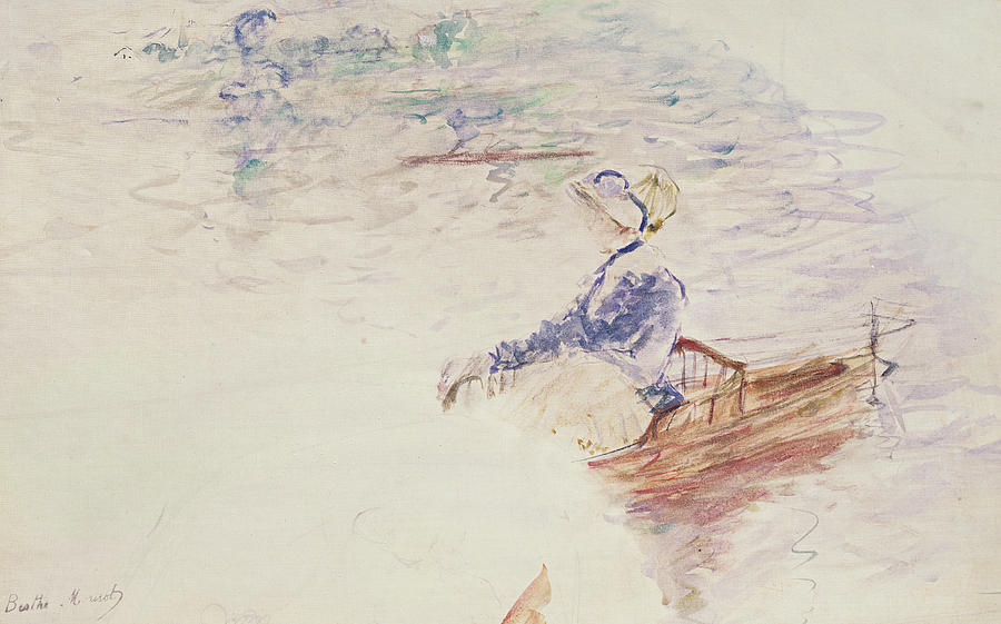 Female Painting - Sketch Of A Young Woman In A Boat by Berthe Morisot