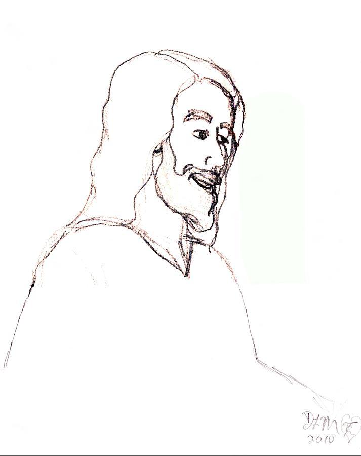 Christ Digital Art - sketch of Jesus by Dawna Morton
