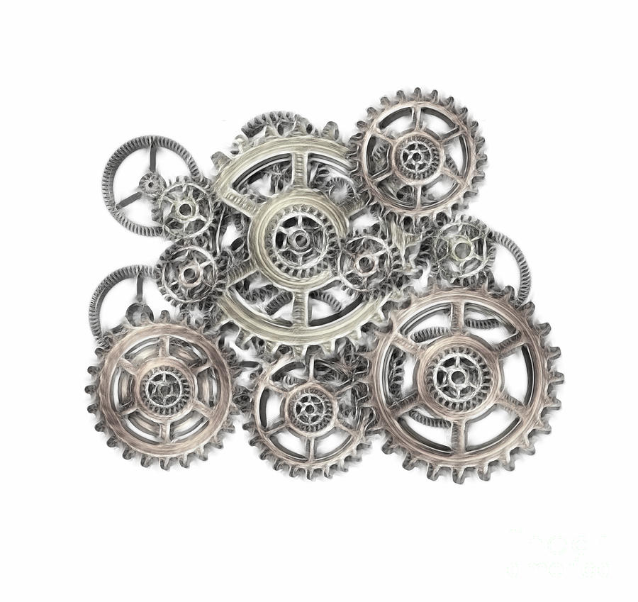 Cogwheel Mixed Media - Sketch Of Machinery by Michal Boubin