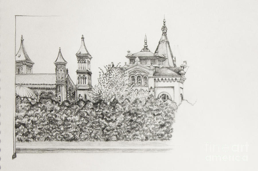 Smithsonian Drawing - Sketch Of The Smithsonian by Cheryl E Adams