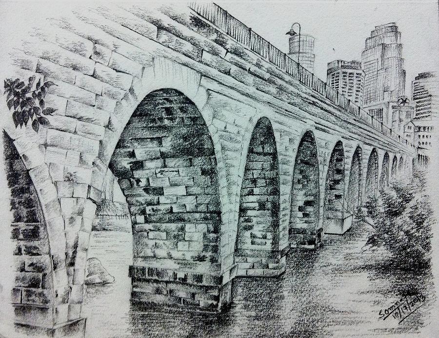 Sketch Stone Arch Drawing by Somnath Kundu
