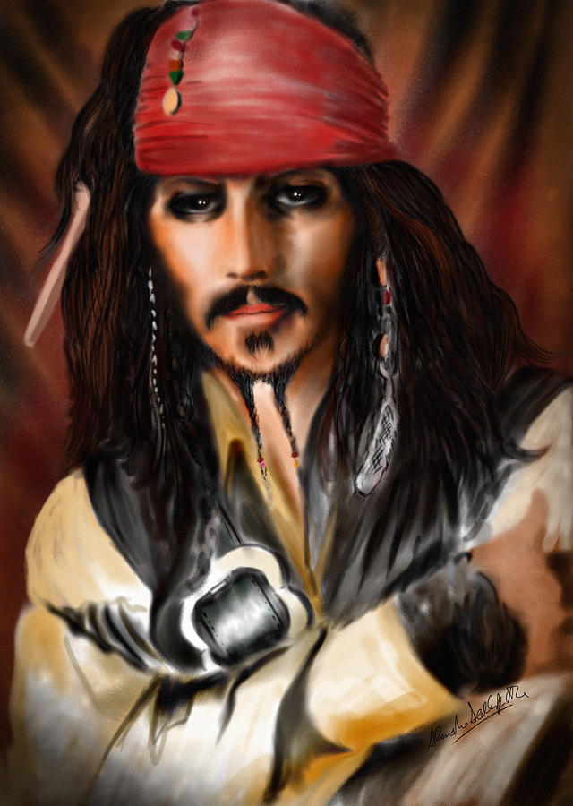 Johnny Depp Drawing - Sketching A Pirate... by Alessandro Della Pietra