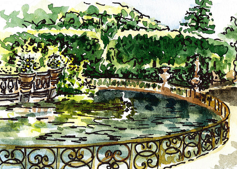 Sketching Italy Florence Boboli Gardens Of Pitti Palace Painting by ...