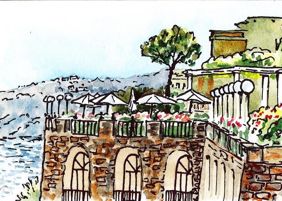 Italy Painting - Sketching Italy Sorrento Cliff by Irina Sztukowski