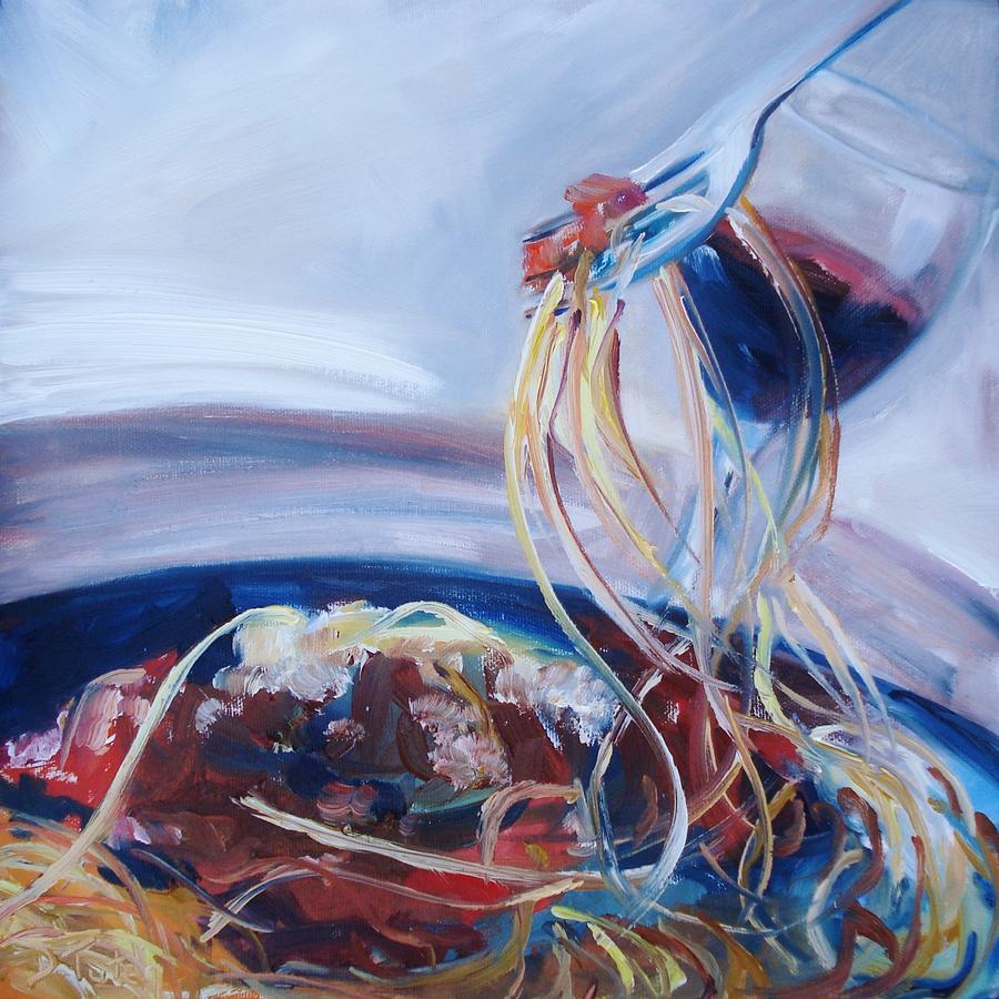 Spaghetti Painting - Sketti by Donna Tuten