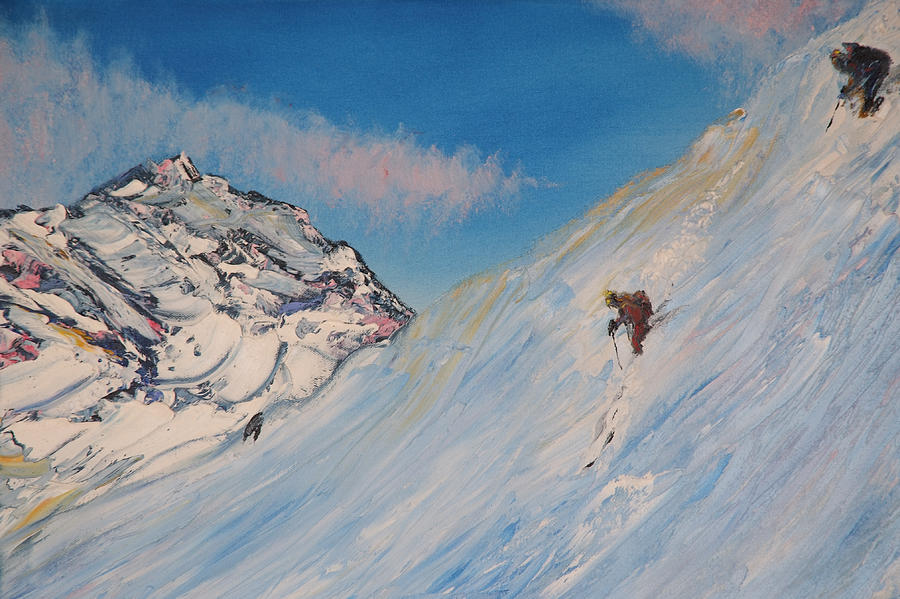 Ski Painting - Ski Alaska Heli Ski by Gregory Allen Page