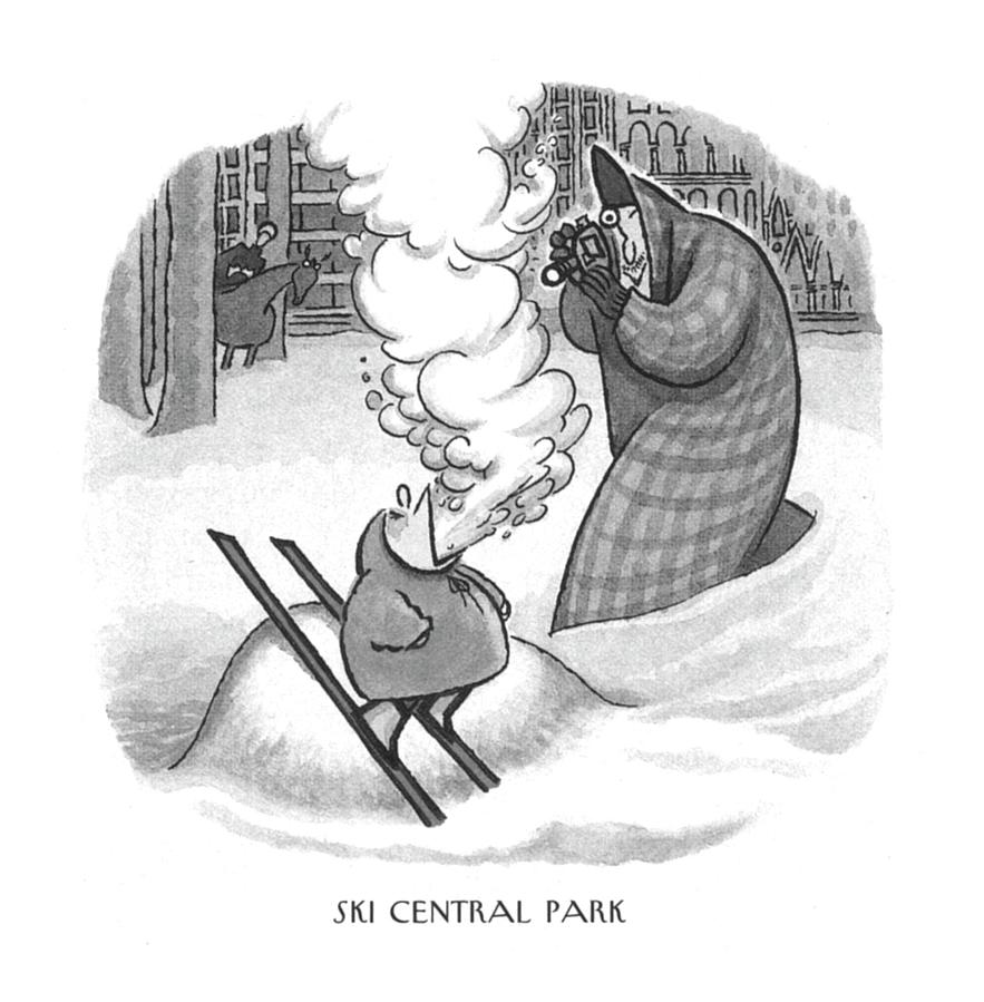 Ski Central Park Drawing by Arnold Roth