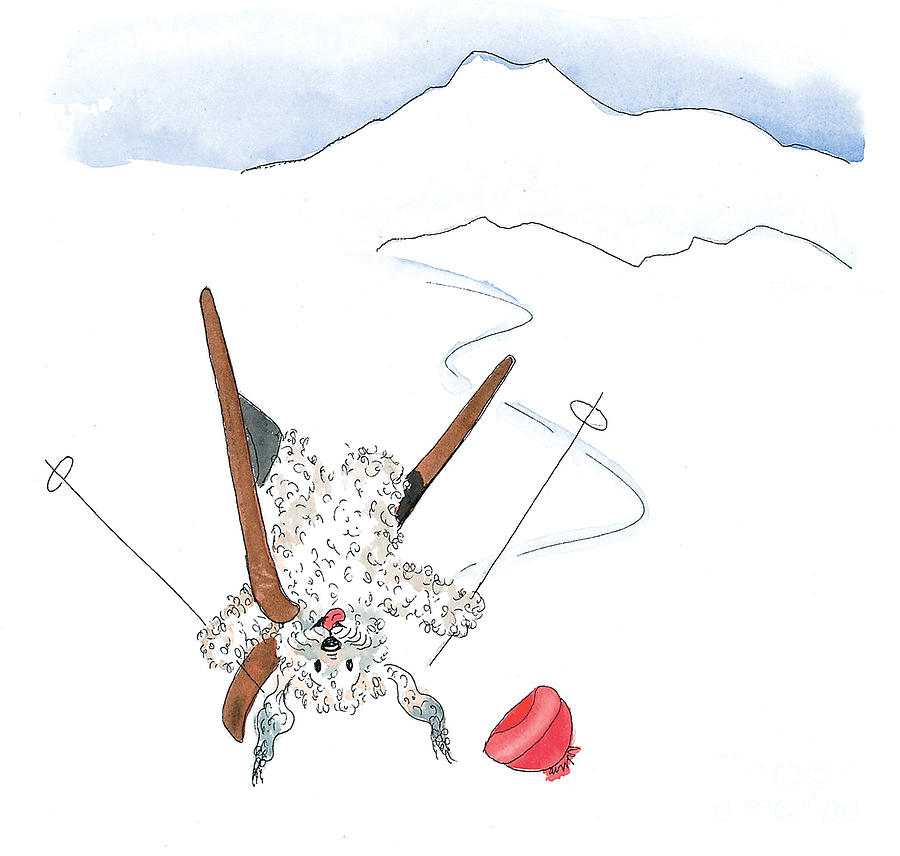 Skiing Painting - Ski Fail by Leah Wiedemer