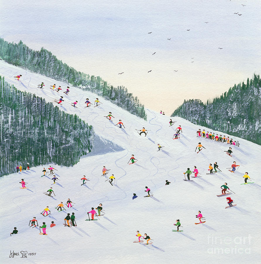 Skis Painting - Ski Vening by Judy Joel