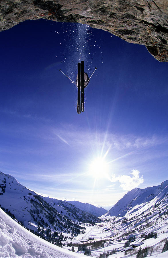 Action Photograph - Skier Jumping Off A Cliff At Alta, Utah by Scott Markewitz