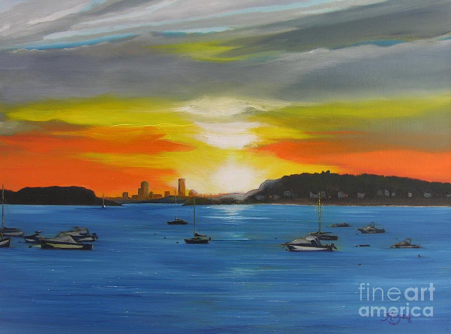 Boston Painting - Skies Over The City by Barbara Hayes