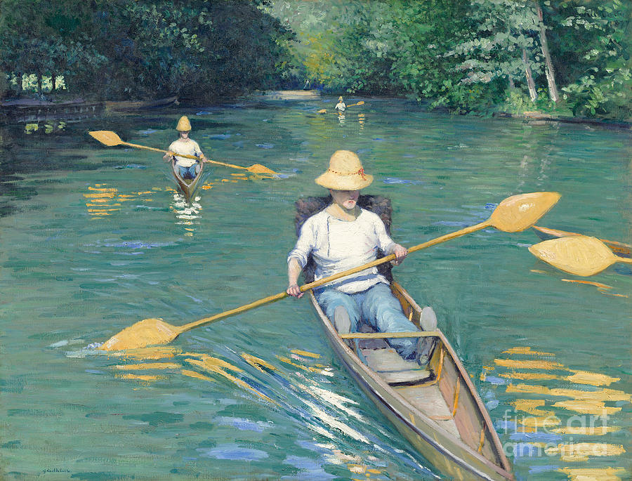 Impressionist; Rowing; Boat; River; Male; Leisure; Summer; Sport; Water; Reflection; Hat Painting - Skiffs by Gustave Caillebotte