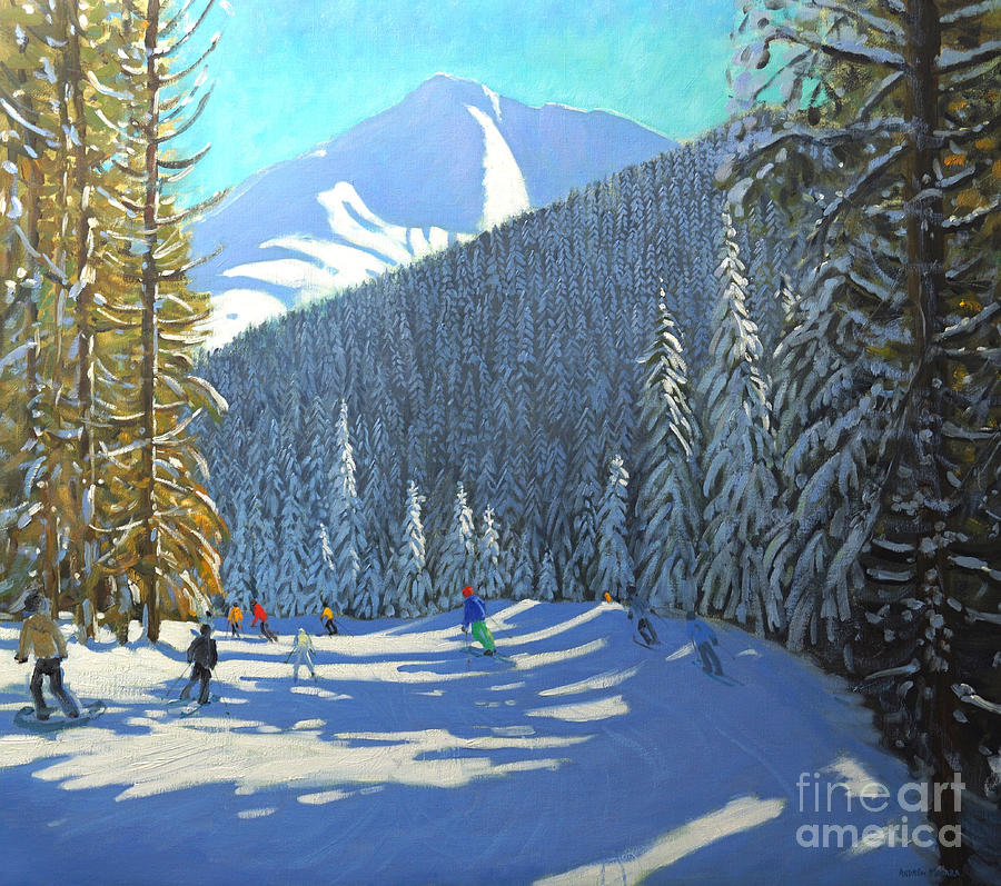 Winter Painting - Skiing  Beauregard La Clusaz by Andrew Macara