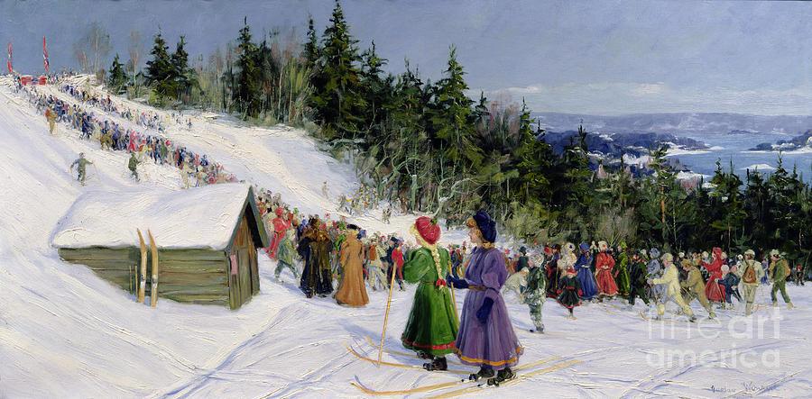 Skiing Painting - Skiing Competition In Fjelkenbakken by Gustav Wentzel