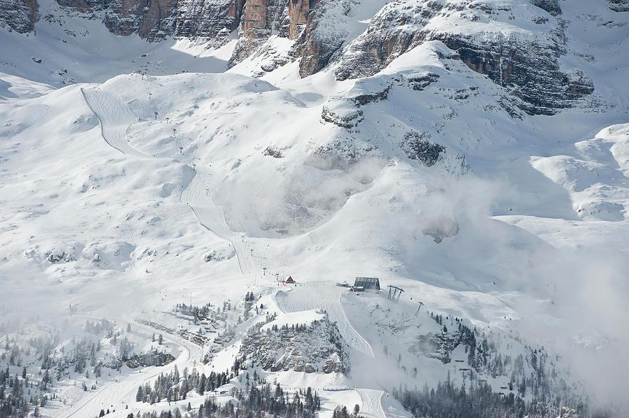 Skiing Slope, Dolomites Photograph by Franz Aberham