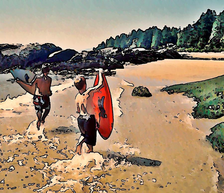 Skim Boarding Photograph - Skim Boarders by Stanley  Funk