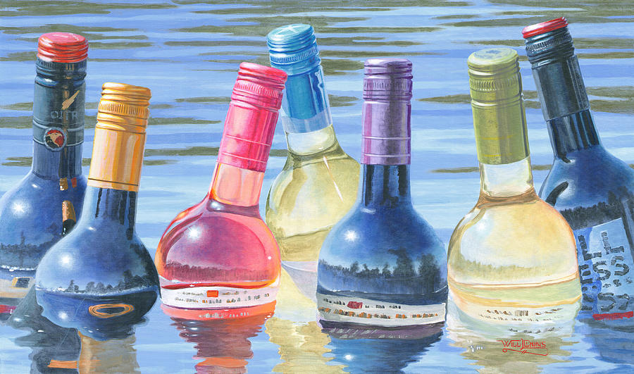 Wine Painting - Skinny Dipping by Will Enns