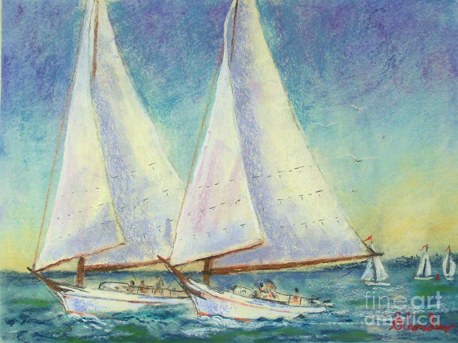 Boats Pastel - Skip Jack Races by Bruce Schrader