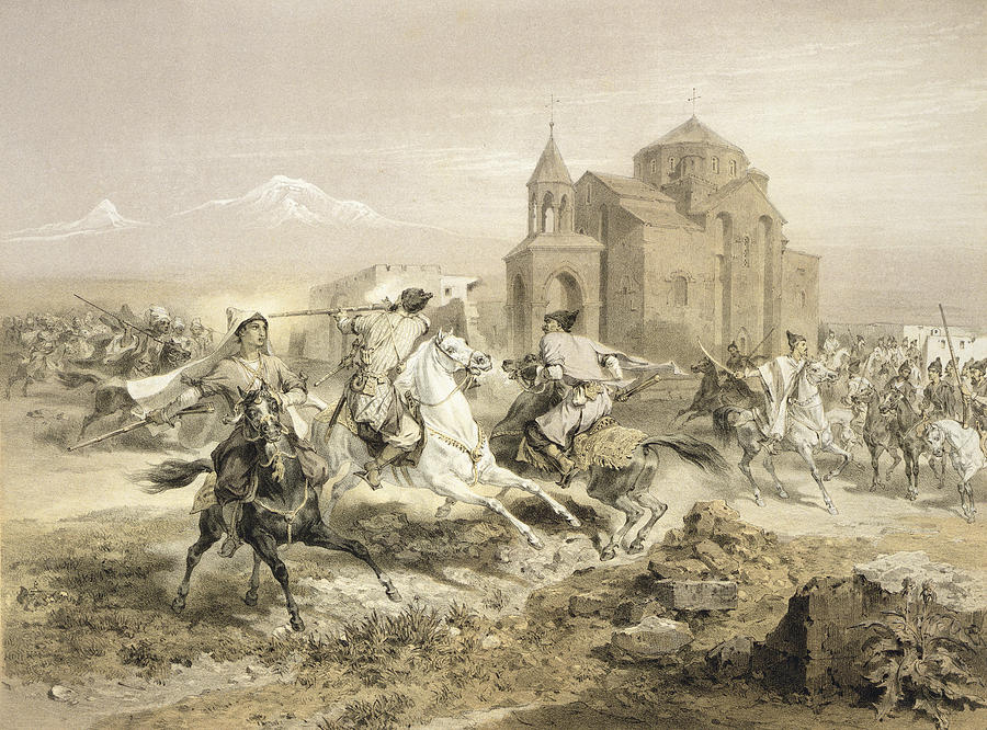 Fight Drawing - Skirmish Of Persians And Kurds by Grigori Grigorevich Gagarin
