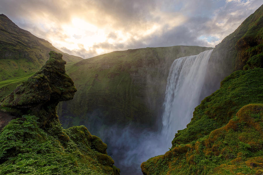 Skogafoss Photograph - Skogafoss Sunset by Chris Allington