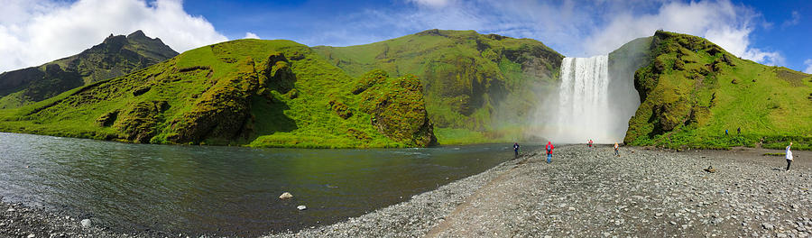 Iceland Photograph - Skogafoss Waterfall Iceland Panorama by Matthias Hauser