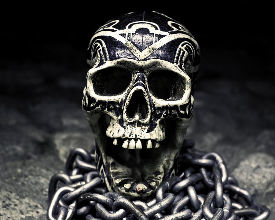 Skill Photograph - Skull And Chains by Rollie Robles