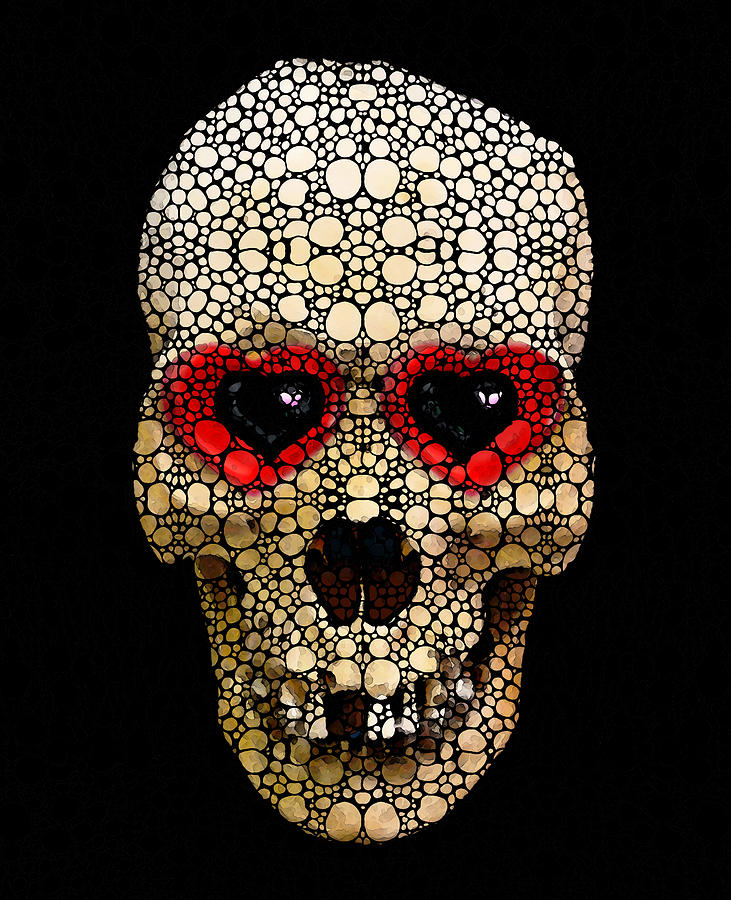 Skull Painting - Skull Art - Day Of The Dead 3 Stone Rockd by Sharon Cummings