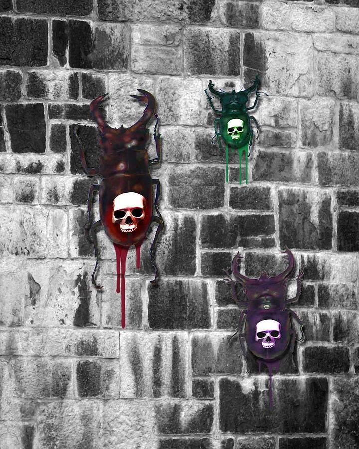 Skull Backed Beatles Digital Art by Diana Shively