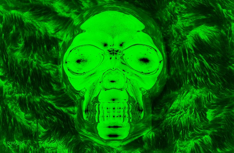 skull in radioactive negative green photograph by rob hans