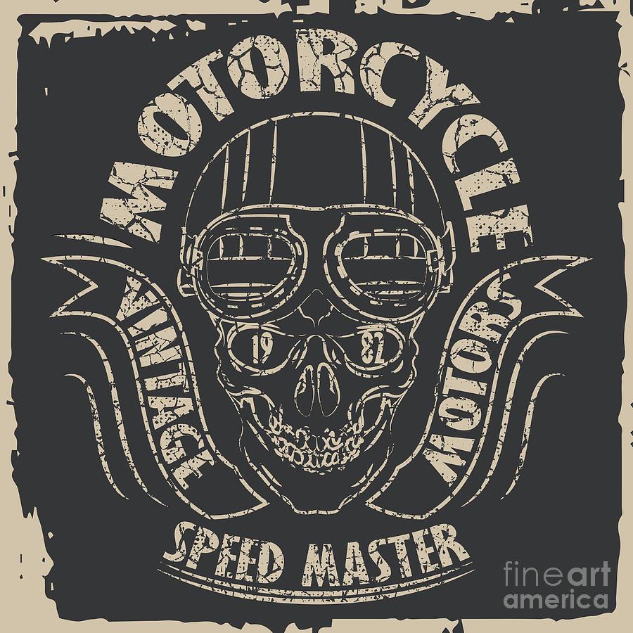 Symbol Digital Art - Skull Motorcycle Graphic Design by Lakoka