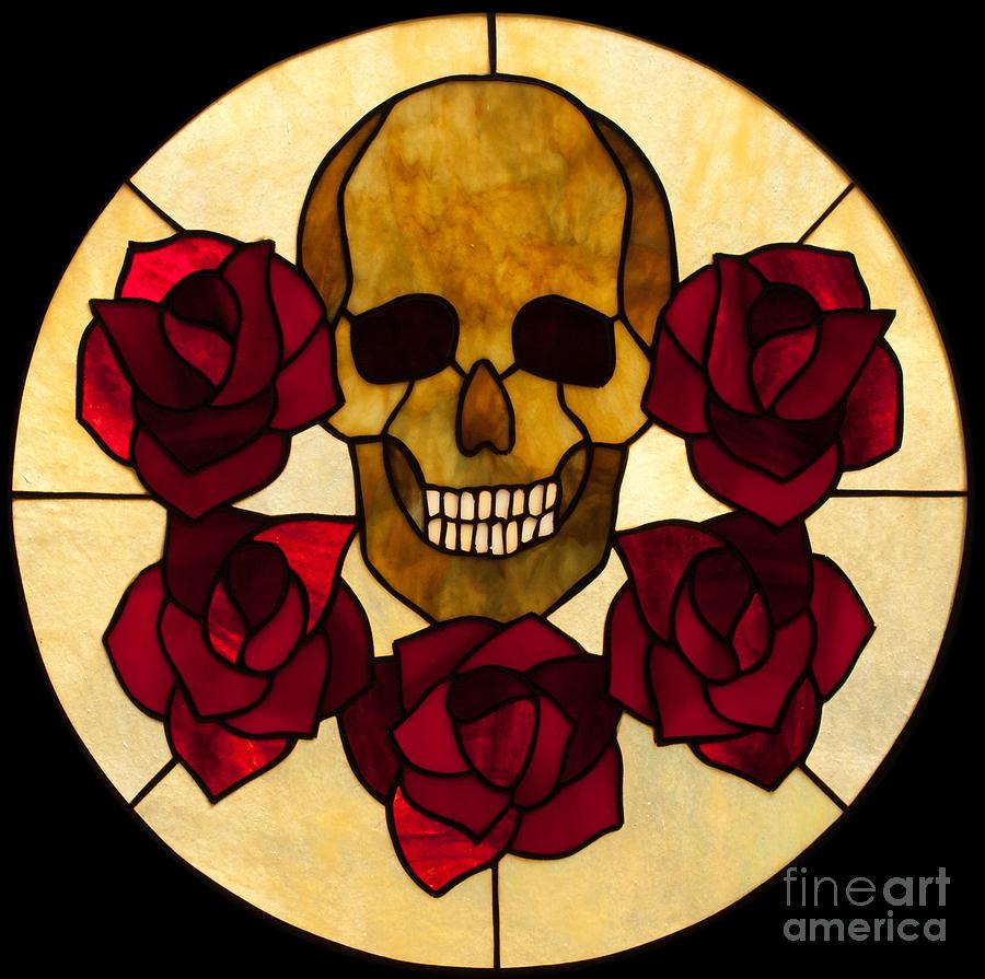 Skull Glass Art - Skull No 3 by David Kennedy