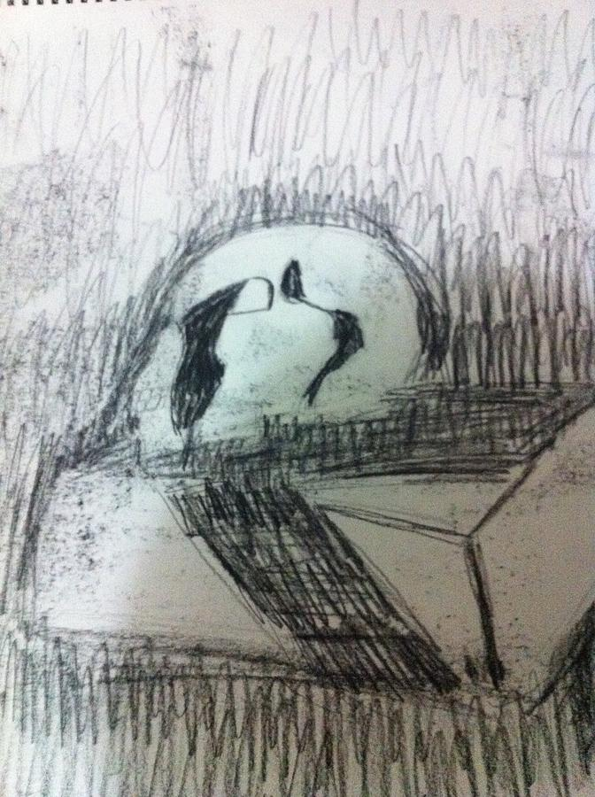 Drawing Drawing - Skull On Box by Khoa Luu
